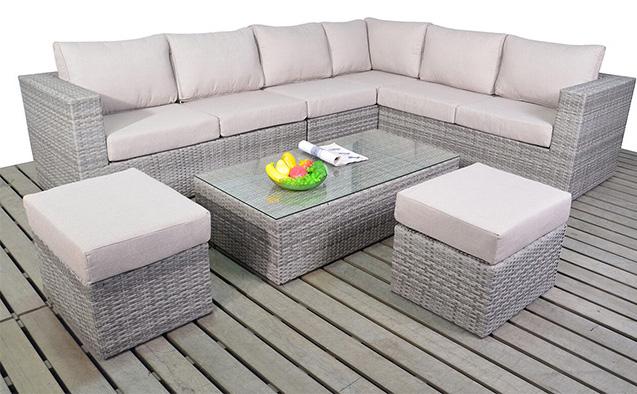 Rustic Large corner right garden furniture suite