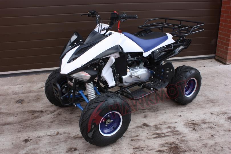 Hawkmoto Raider 150cc CVT Quad Bike in Blue and White