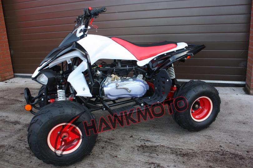 Hawkmoto Intruder 200cc CVT Quad Bike in Red and White