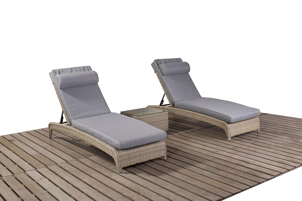Rural Pair loungers & Coffee table garden furniture suite