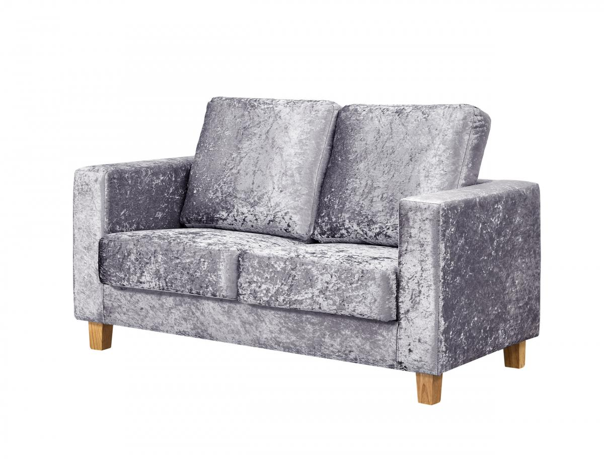 Chesterfield 2 Seater Sofa Crushed Velvet Silver