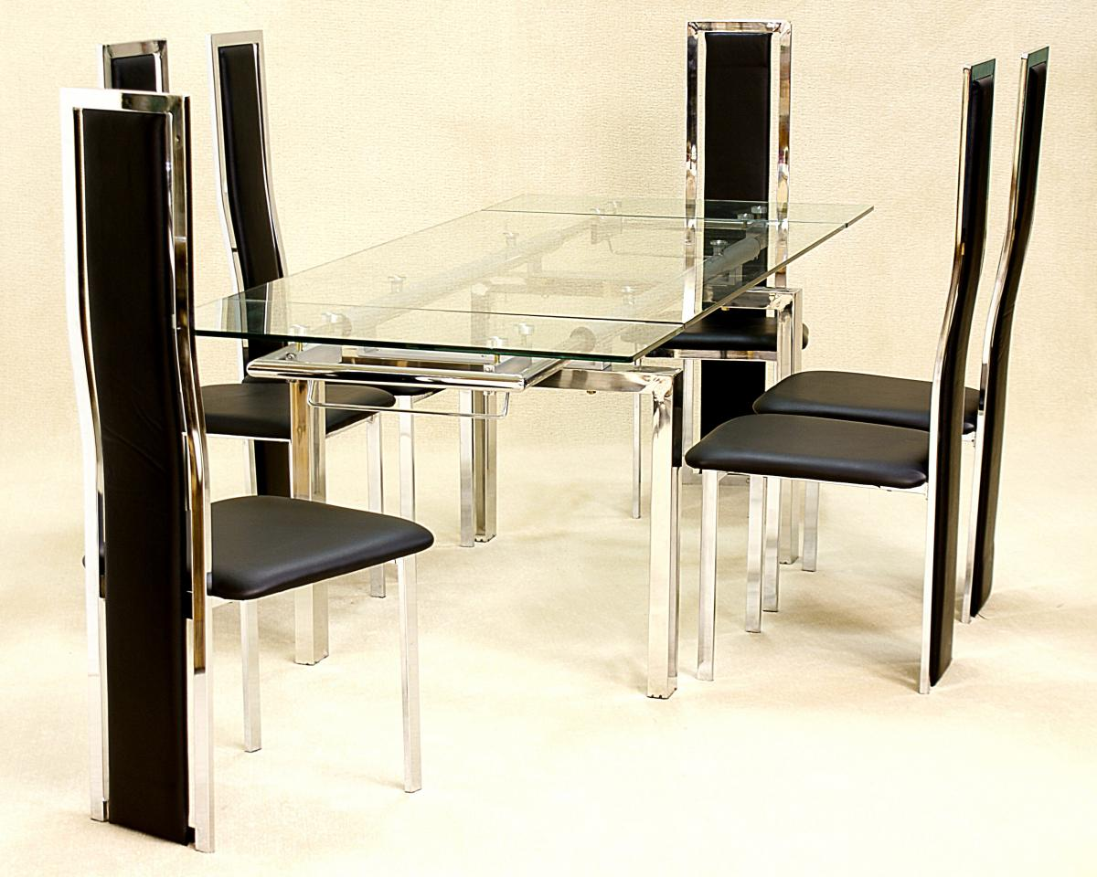 Crystal Extending Glass Dining Table 6 Trinity Chairs