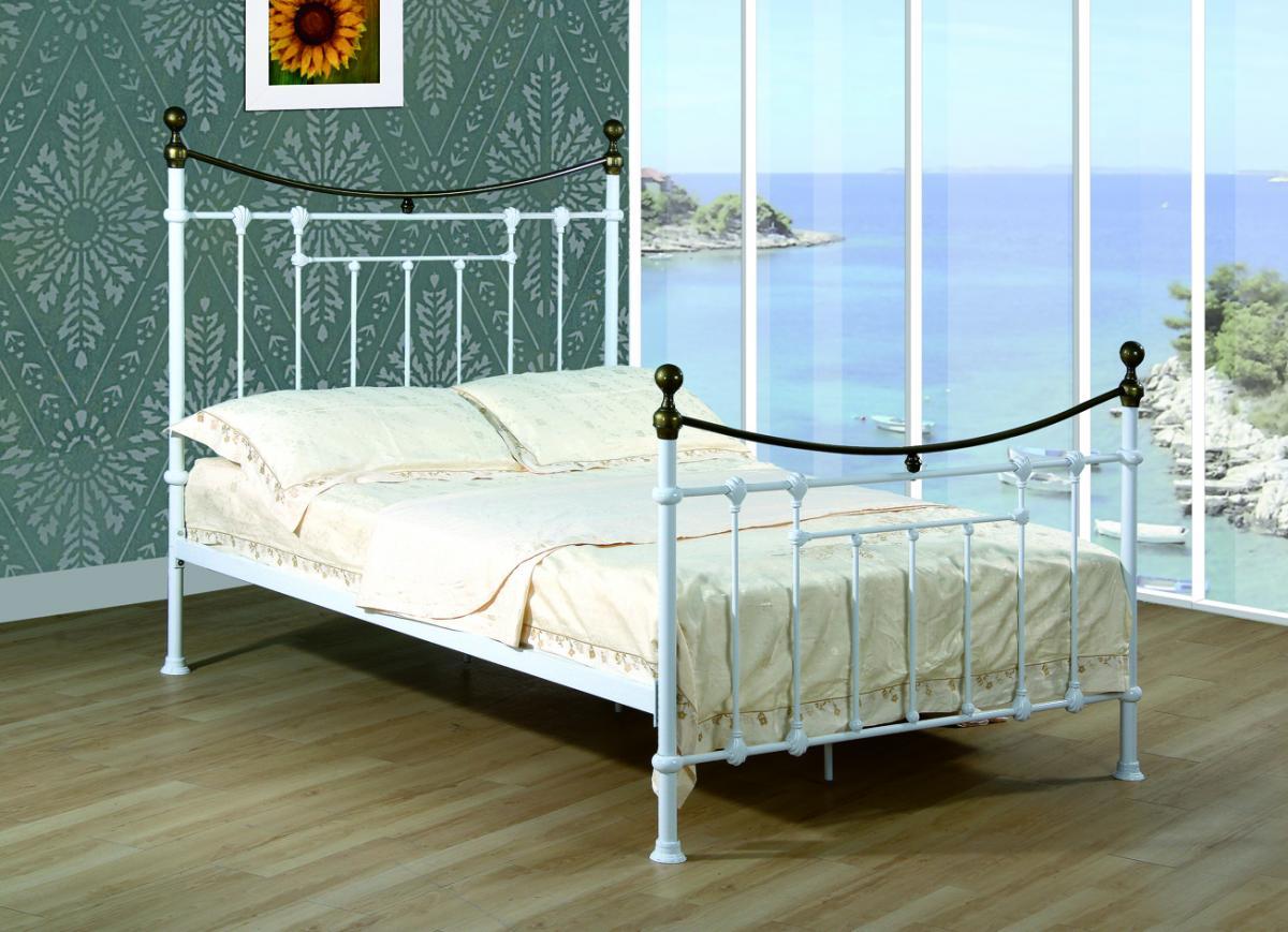 Elizabeth Double Bed White & Antique Brass
