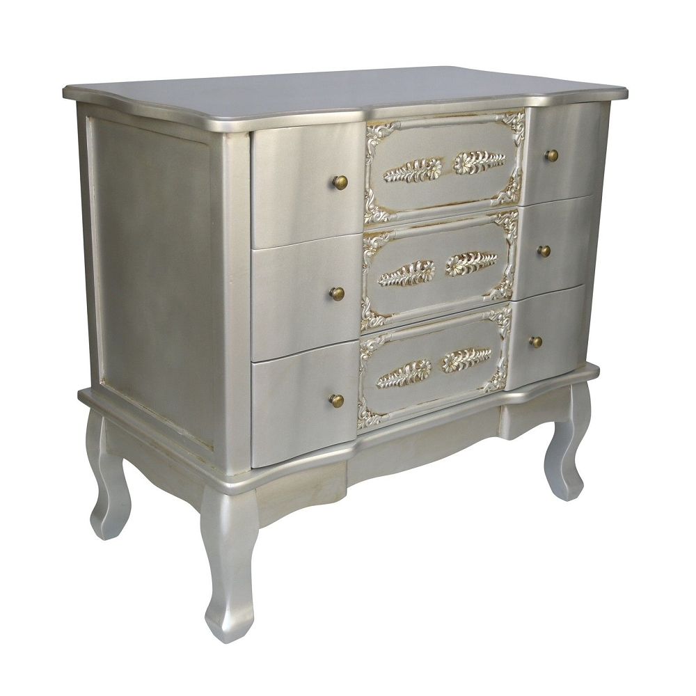 French Silver 3 Drawer Chest