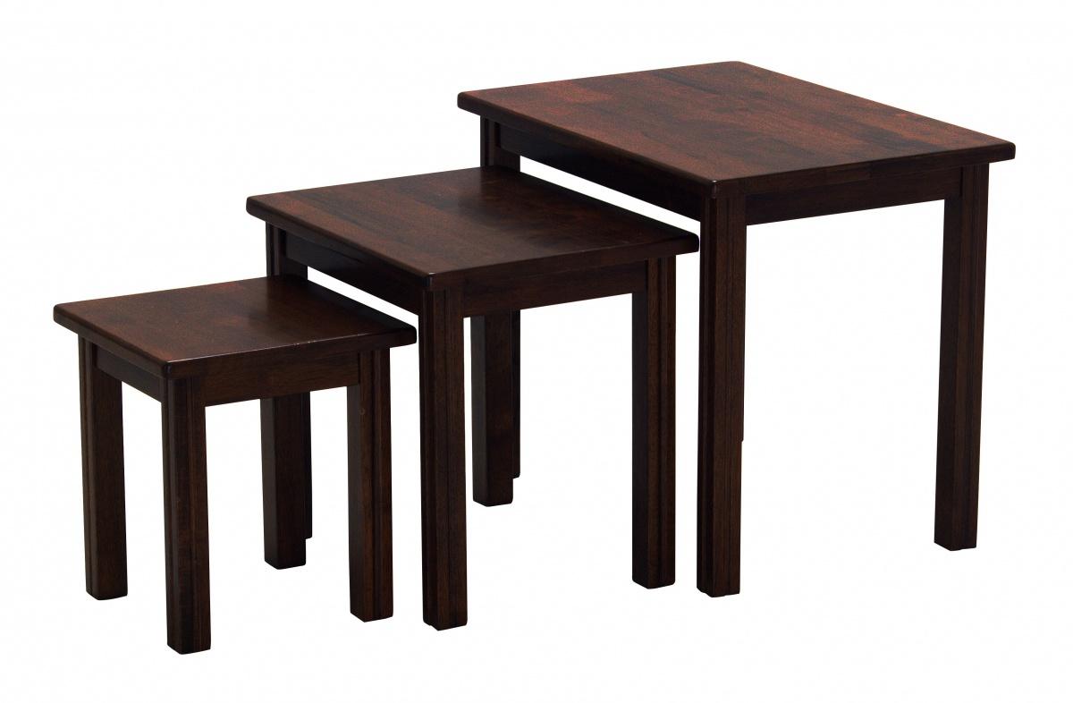 Portman Solid Rubberwood Nest of Tables Mahogany