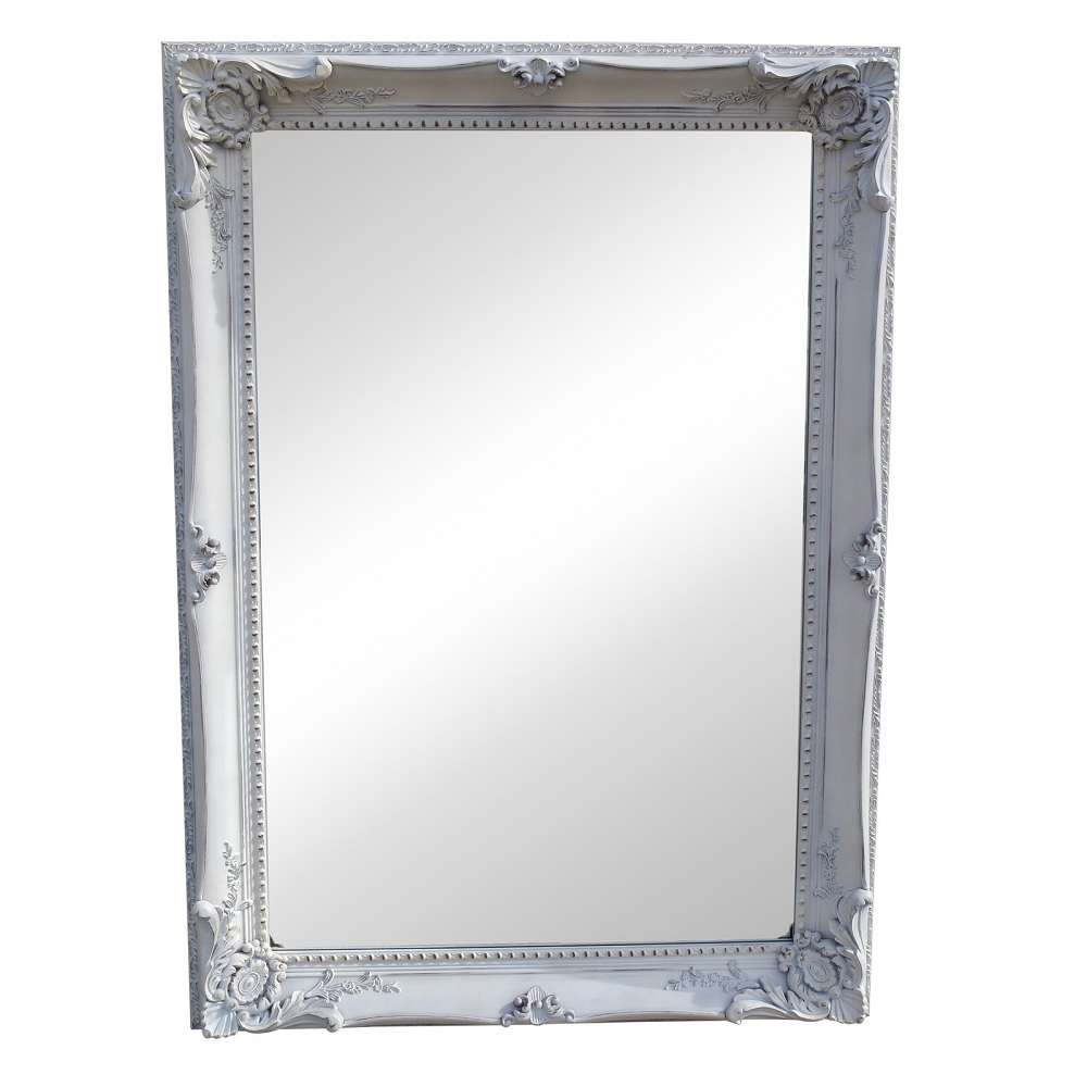 White Disteressed French Style Traditional Mirror