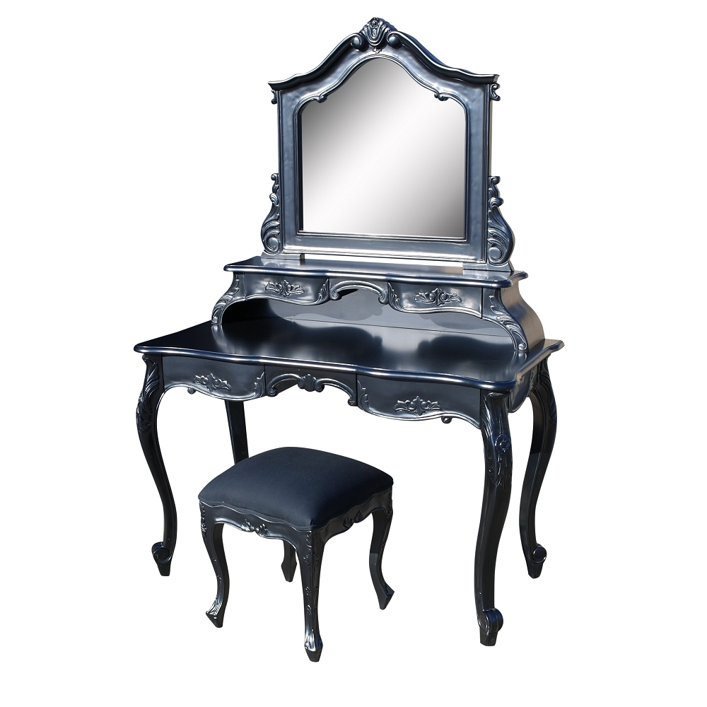 French Black Carved Dressing Table, Mirror & Stool Set