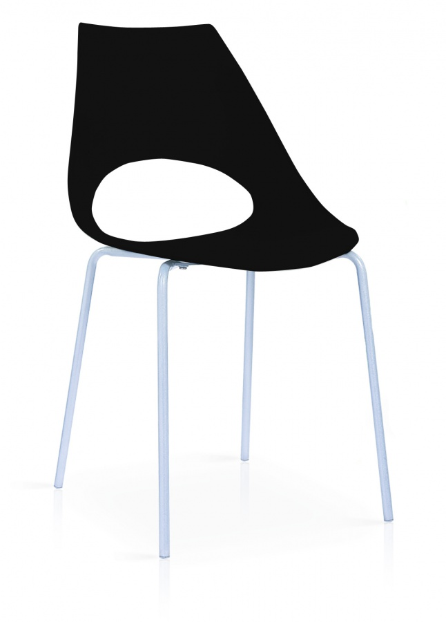 Orchard Plastic (PP) Chairs Black with Metal Legs Chrome