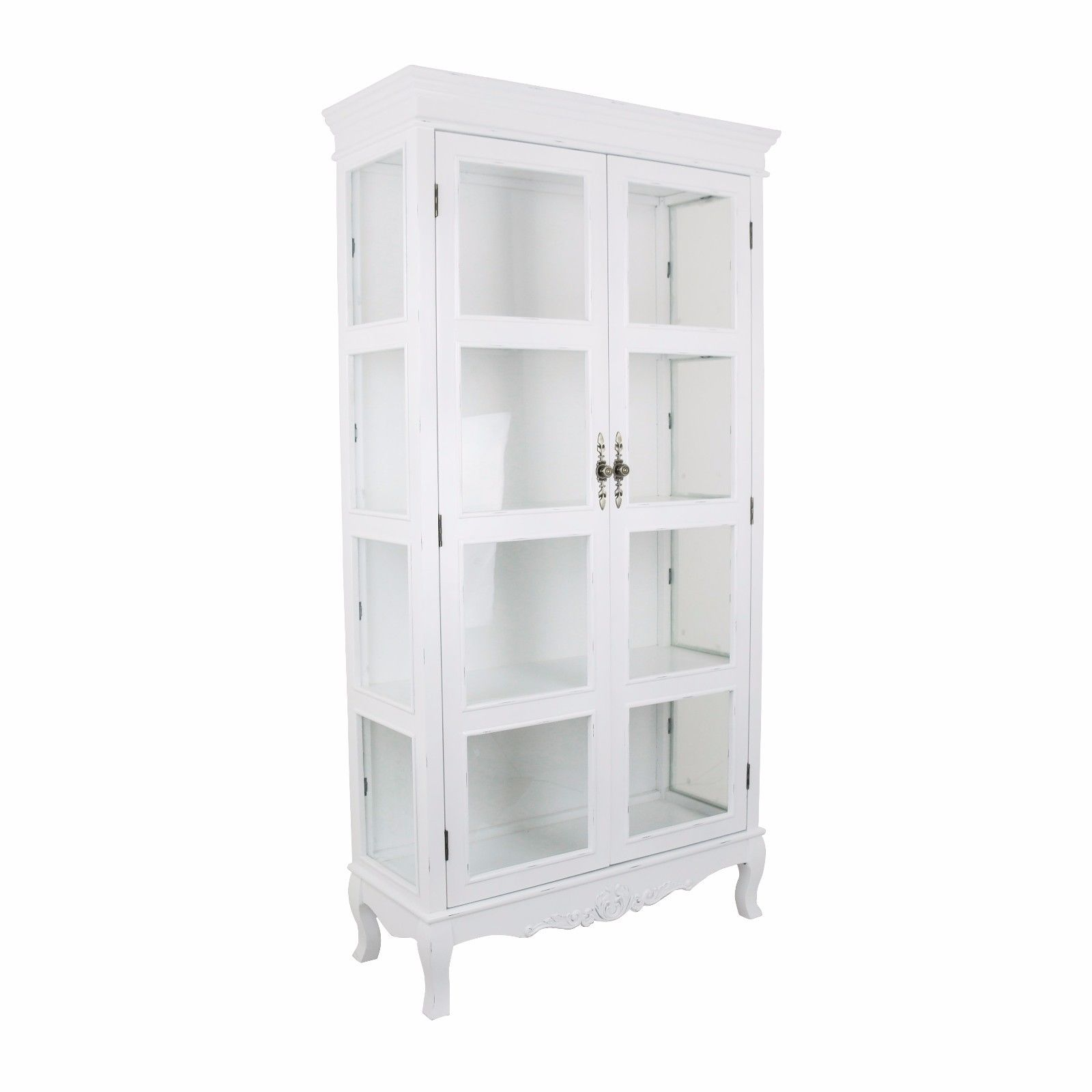 French Country White Display Cabinet