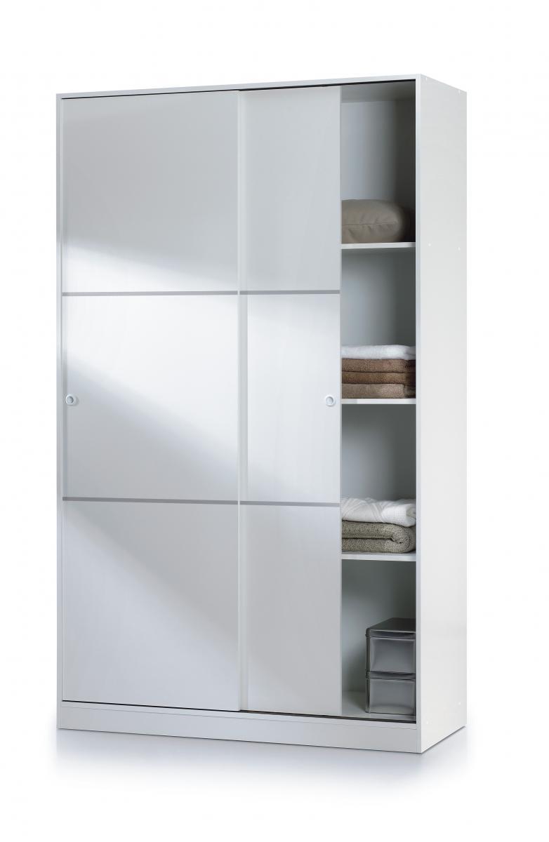 Arctic Sliding Wardrobe 4 Foot with Shelves High Shine White