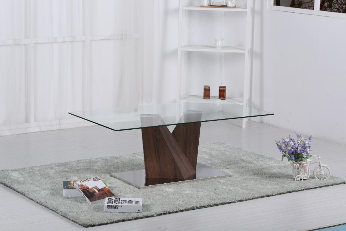 Socorro Glass Coffee Table Walnut