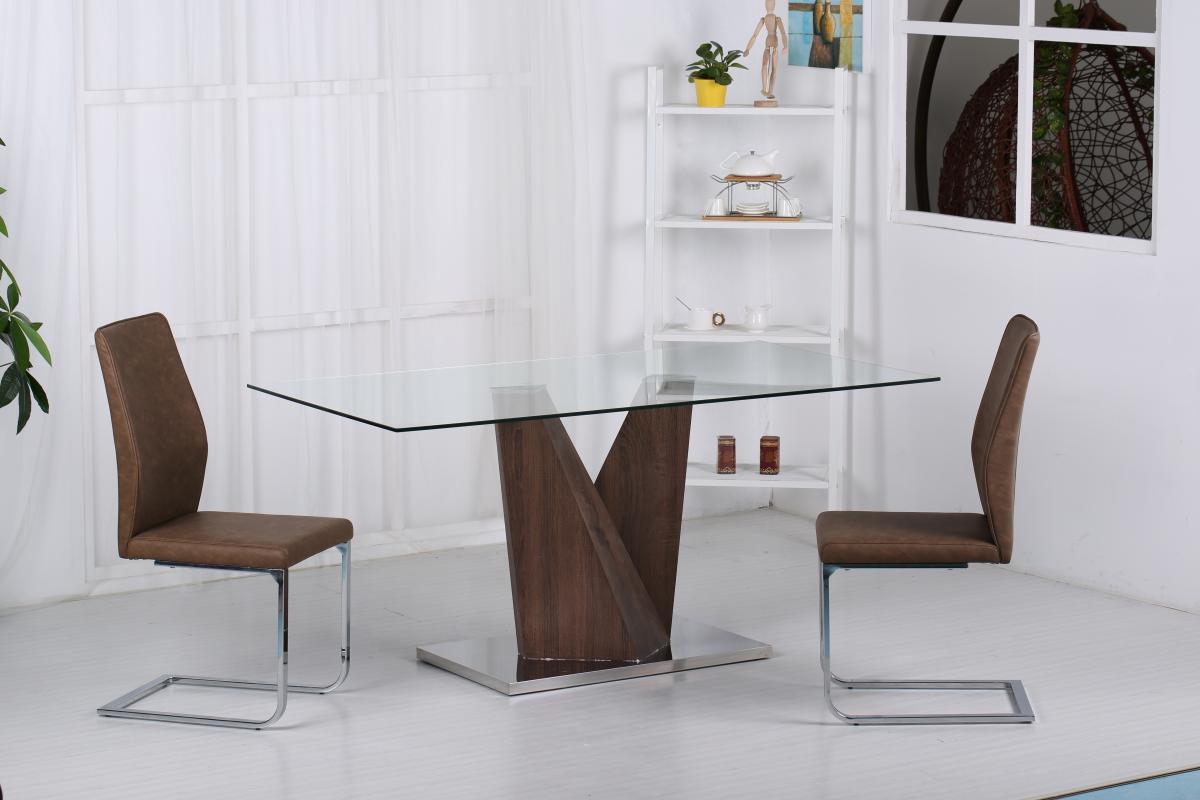 Socorro Glass Dining Table Walnut