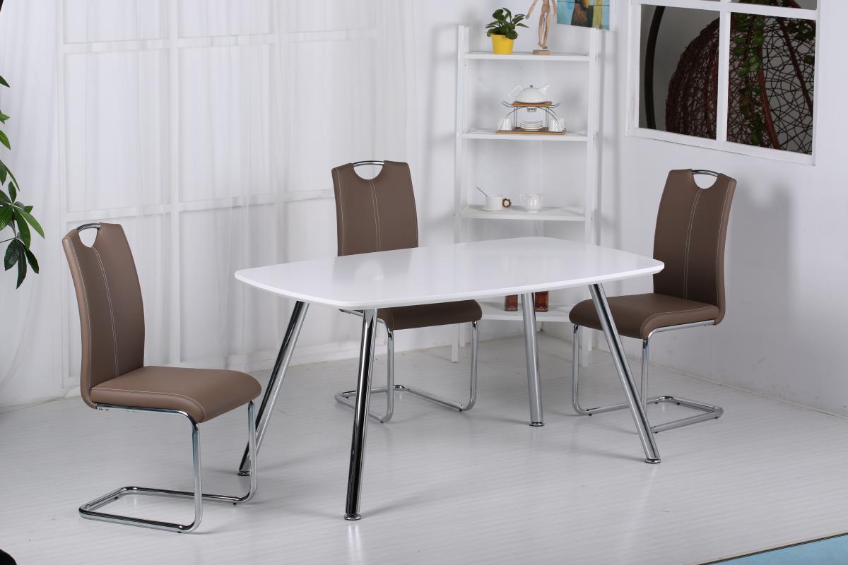 Vera PU Chairs Chrome & Brown