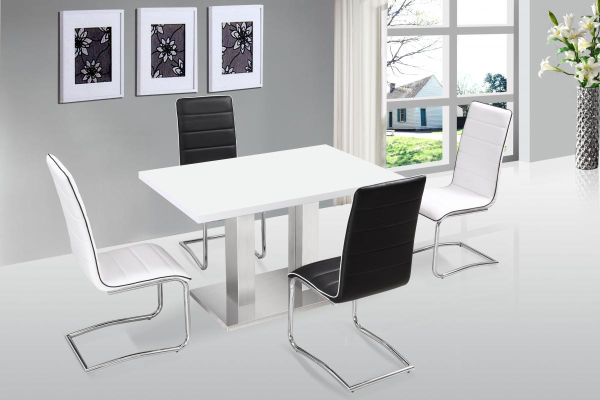 Walton Dining Table White with Stainless Steel Base
